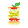 Apple with measure tape illustration on white background Royalty Free Stock Photography