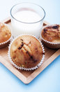 Apple muffin with cup of milk close up Stock Photography