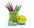 Apple and office supplies Stock Image
