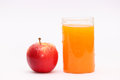 Apple and orange fruit juice a glass full of fresh cold a healthy red Stock Photos