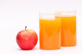 Apple and orange juice a fresh with water droplets two glasses of fruit a food full of vitamins nutrition Royalty Free Stock Photography