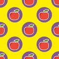 Apple pattern. Seamless texture with ripe red apples Royalty Free Stock Photo