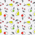 Apple, pear and cherry seamless pattern Royalty Free Stock Image