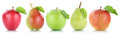 Apple pear fruit apples pears fruits in a row isolated on white Royalty Free Stock Photo