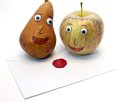 Apple and pear and the letter with the seal of love Royalty Free Stock Photo