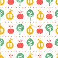 Apple pear tree seamless vector pattern background. Hand drawn paper cut out stripes. Matisse style. Fruit garden folk art all