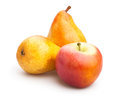 Apple and pear on white background Royalty Free Stock Photos