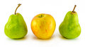 Apple and pear yellow green Royalty Free Stock Image