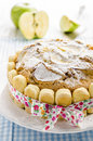 Apple pie with apples tied with a ribbon on a birthday Royalty Free Stock Images