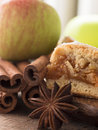Apple pie with cinnamon close up shot of and fruit Royalty Free Stock Photography