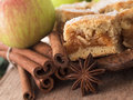 Apple pie with cinnamon close up shot of and fruit Royalty Free Stock Photo