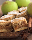 Apple pie with cinnamon close up shot of and fruit Royalty Free Stock Image