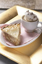 Apple pie and coffee slice of served together on a plate Royalty Free Stock Images