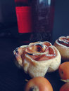 Apple pie in the form of roses macro Royalty Free Stock Photo