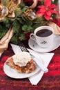 Apple pie a la mode Christmas theme Royalty Free Stock Photo