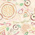 Apple pie line art pattern seamless with pies cups of tea hearts some text and other decorations vector file is eps all elements Stock Photo