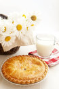 Apple pie and milk Stock Image