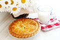 Apple pie and milk Royalty Free Stock Photo