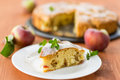 Apple pie piece of on a plate with mint Royalty Free Stock Photo