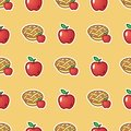 Apple pie on red pattern background. Sweet and tasty baked fruit pie from red apples seamless pattern.