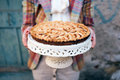 Apple pie women in vintage clothes holding Royalty Free Stock Images