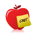 Apple with a post it with the word diet Stock Photo