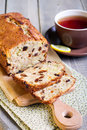 Apple and raisin crumble cake sliced Stock Photo