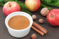 Apple sauce with cinnamon and fresh apples for christmas dessert horizontal Stock Photos
