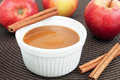 Apple sauce with cinnamon and fresh apples horizontal Stock Image
