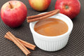 Apple sauce close up of with cinnamon and fresh apples horizontal Stock Photos
