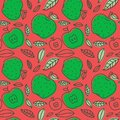 Apple seamless pattern. Hand drawn fresh fruit. Multicolored vector sketch background. Colorful doodle wallpaper. Red and green p