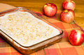 Apple sheet cake with red apples Stock Image