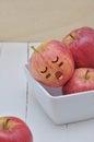 Apple in in slaap uitdrukkingsgezicht Royalty-vrije Stock Foto