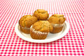 Apple spice muffins on plate Stock Photos
