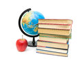 Apple stack of books and globe on white background red horizontal photo Stock Photography