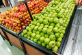 Apple stall in big supermarket Royalty Free Stock Photography
