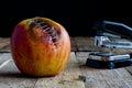 Apple with stapler