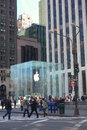 Apple store the on fifth avenue in new york Royalty Free Stock Photo