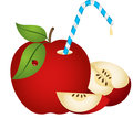 Apple with Straw Royalty Free Stock Photo