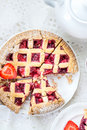 Apple, Strawberry and Blackberry Lattice Pie Royalty Free Stock Photo
