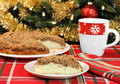 Apple streusel cake, selective focus on slice Stock Images