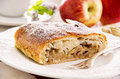 Apple strudel as closeup on a white plate Royalty Free Stock Photos