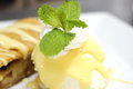 Apple strudel with hot vanilla sauce is a typical dessert Stock Image