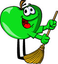 Apple sweeping with broom