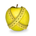 Apple with Tape Measure Royalty Free Stock Photo