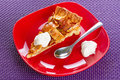 Apple tart dessert on the plate Royalty Free Stock Photo