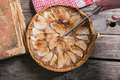 Apple tart on wooden table Royalty Free Stock Photos