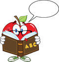 Apple teacher character reading a book with speech bubble smiling Royalty Free Stock Photos
