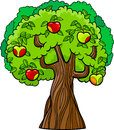 Apple tree cartoon illustration Royalty Free Stock Photo