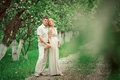 Apple tree garden beautiful couple in Royalty Free Stock Images